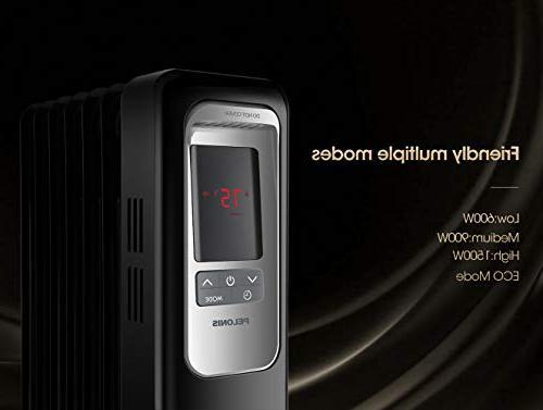 PELONIS Electric Radiator 1500W Radiator Space Digital Thermostat, 24-Hour Timer, Remote Control, Safe