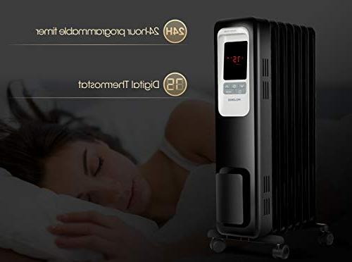 PELONIS Electric Radiator 1500W Radiator Digital Thermostat, 24-Hour programmable Timer, Control, Safe Heater for Room