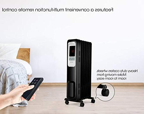 PELONIS Electric Radiator 1500W Portable Oil Radiator Heater with Digital Thermostat, programmable Timer, Remote Control, Safe Heater