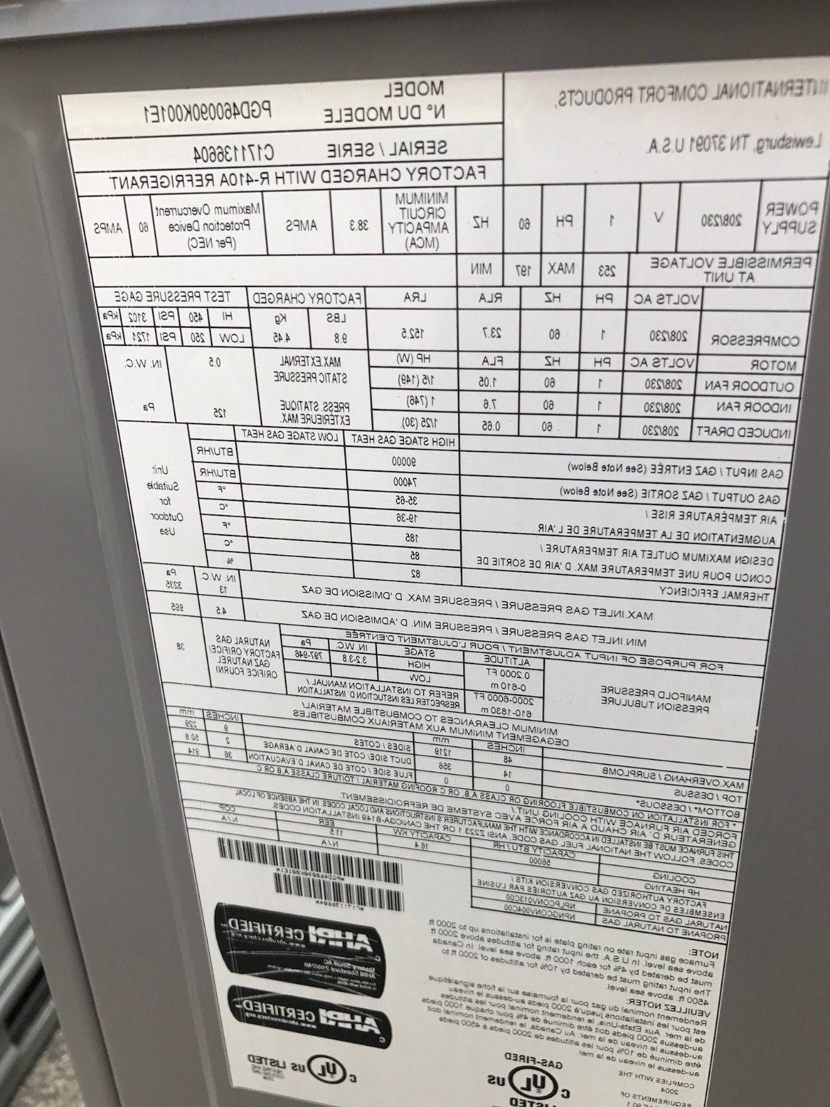 ICP 14 RESIDENTIAL UNIT GAS/ELEC 230V 1PH