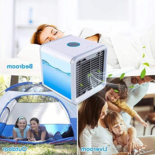 SOLKSHOP Portable in 1 USB Personal Cooler,Humidifier Purifier,Air Cooler 3 Speeds 7 Led for Home Office