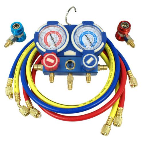 R134a R410a A/C Gauge Set 4FT Colored Hose Conditioner