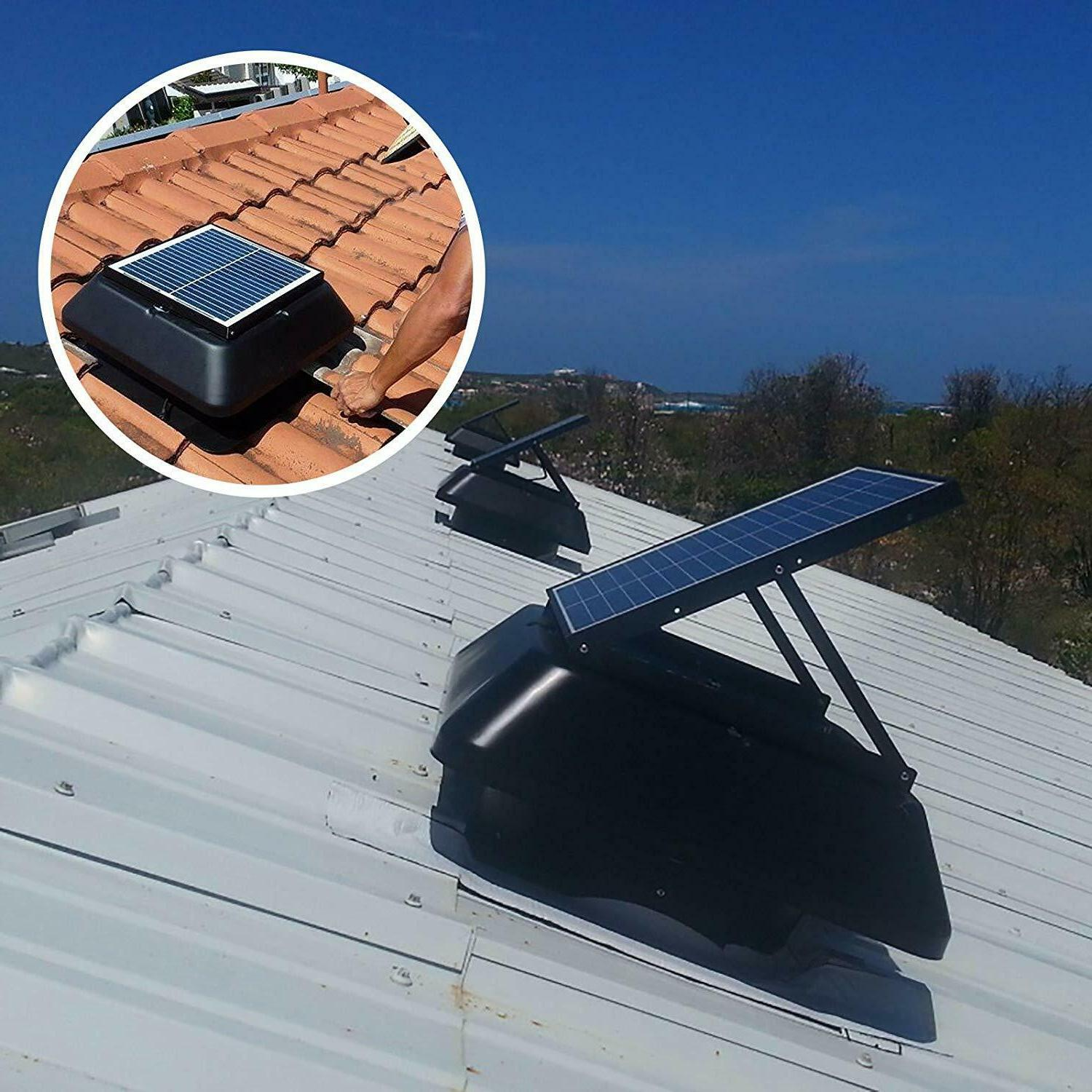 solar powered attic roof exhaust fan vent