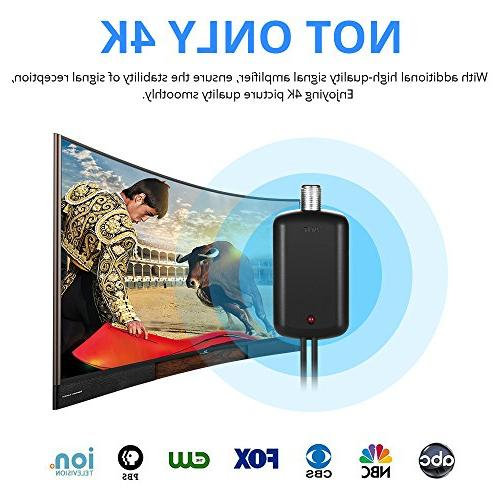Lesoom Newest 80 TV Freeview Local Channels Indoor Basic HDTV Digital Antenna VHF Ampliflier Booster Reception