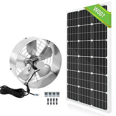 High Flow 65W 3000 CFM Solar Panel Powered Vent Fan Cooler V