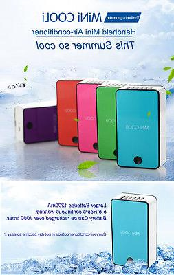 WHITE PORTABLE MINI AIR CONDITIONER FAN RECHARGEABLE BATTERY