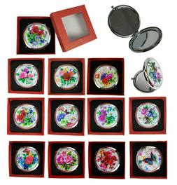 Makeup Cosmetic Compact Mirror Flower Butterfly Normal & Mag