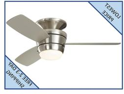 Mazon 44-in Brush Nickel Flush Mount Indoor Ceiling Fan with