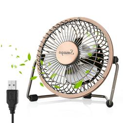 Mini USB Personal Desk Fan - 4'' & Metal & Retro & Quiet & P