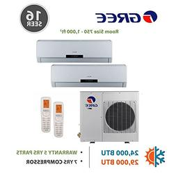 GREE +Multi Dual-Zone Ductless Mini-Split System 24,000 BTU