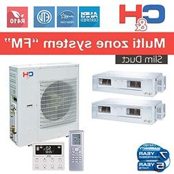 C&H+Multi Dual-zone System with Slim Duct 24,000 BTU Inverte