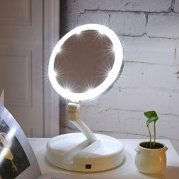 New Portable Folding Mirror 10x Magnifying LED Lighting Make