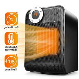 TRUSTECH Portable Space Heater, Adjustable Thermostat, 1500W