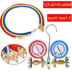 R404a R410a R22 AC A/C Manifold Gauge Set 5FT Colored Hose A