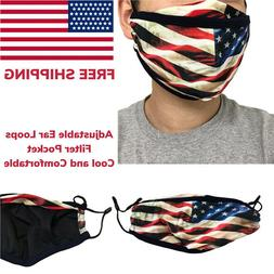 Reusable American Flag Face Mask Filter Pocket Washable Clot