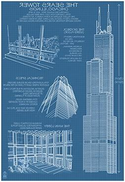 Sears Tower Blue Print - Chicago, Il, C.2009 Poster 13 x 19i