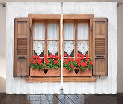 Ambesonne Shutters Decor Curtains 2 Panel Set, Print of Old