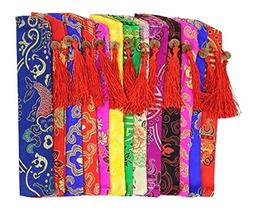 Set Of 5 Silk Fan Cover Chinese Style Fan Bag Business Gifts
