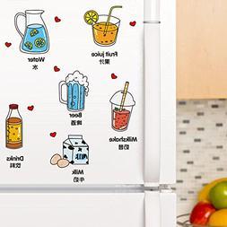 SoungNerly Wall Art Sticker Decals Drinks Lovely Cartoon Ref