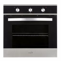 "24"" Tempered Glass Electric Built-In Single Wall Oven, Black"