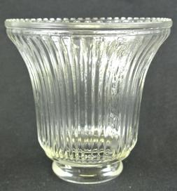 Vintage Clear Glass Vertical Ribbed Style Lamp/Fan Shade